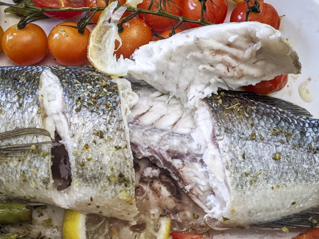 Baked Mediterranean Sea Bass perfectly cooked
