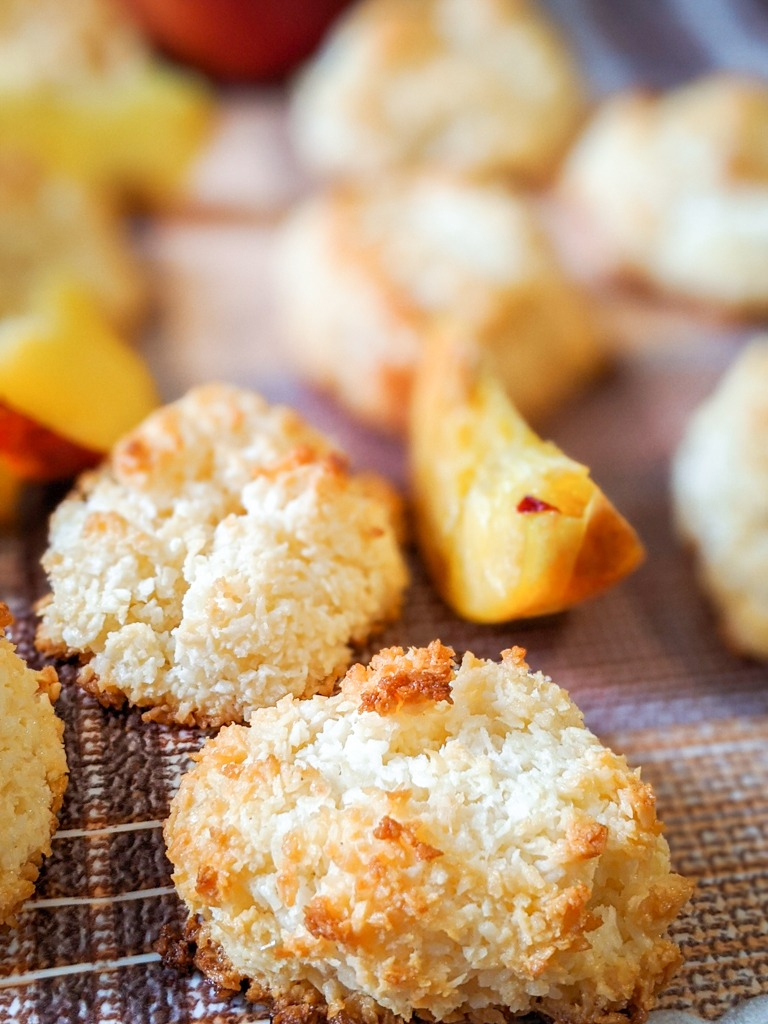 peach coconut macaroons close up image