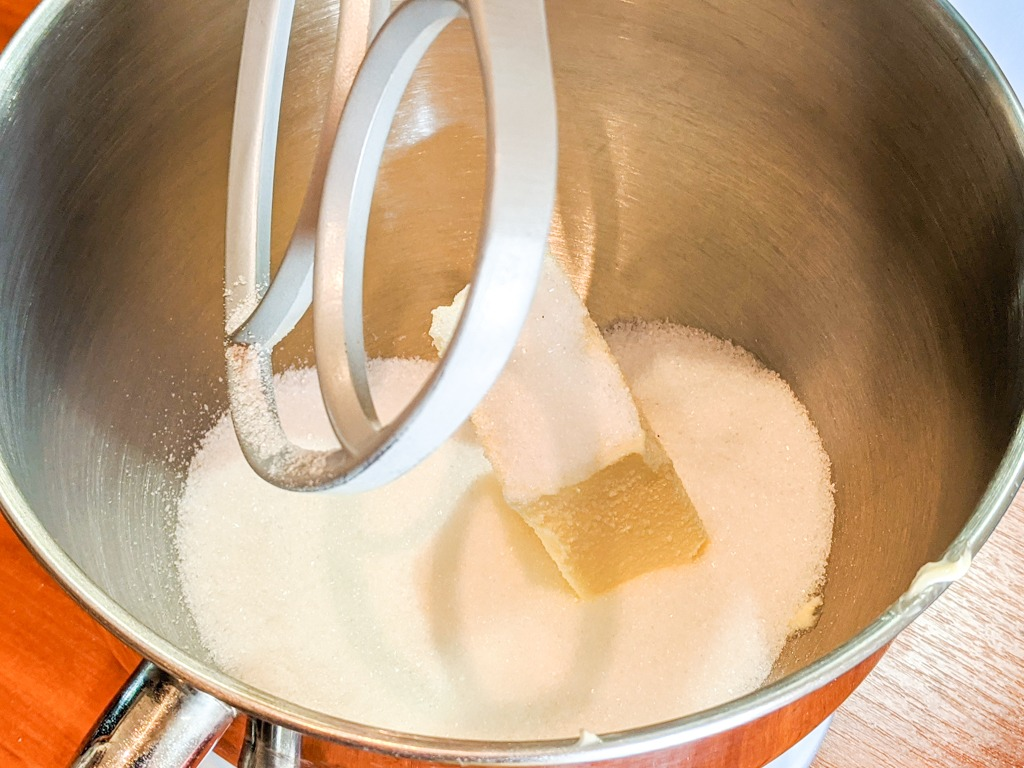 butter and granulated sugar in a stand mixer bowl