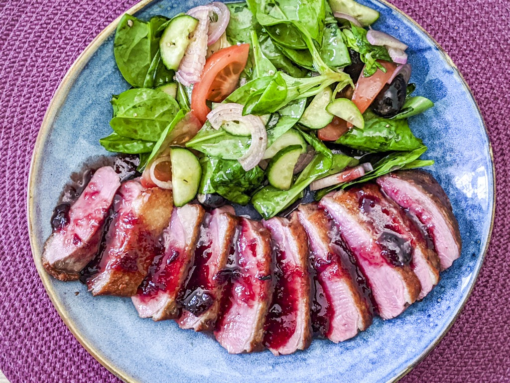 Duck Breast With Plum Sauce and a summer salad