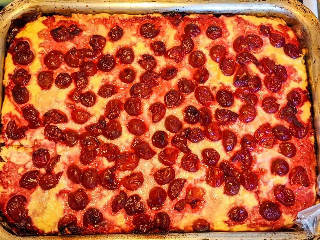 Freshly baked cherry Ukrainian cheesecake