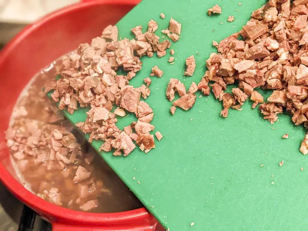 tacos de lengua chopped meat