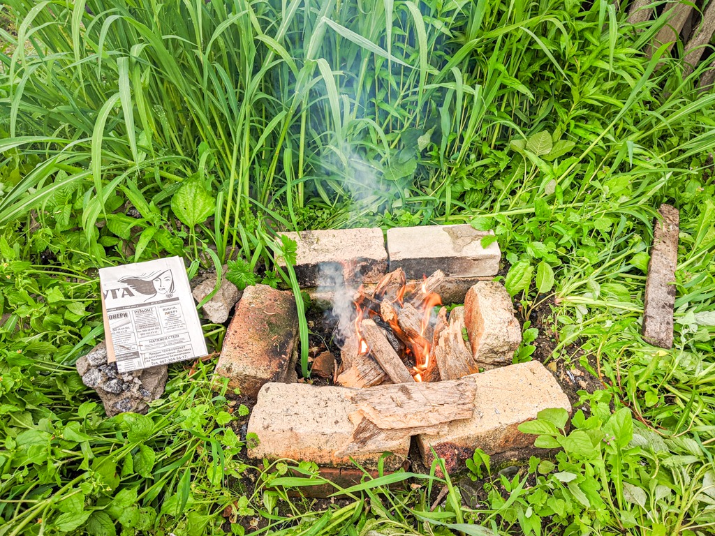 making a backyard campfire