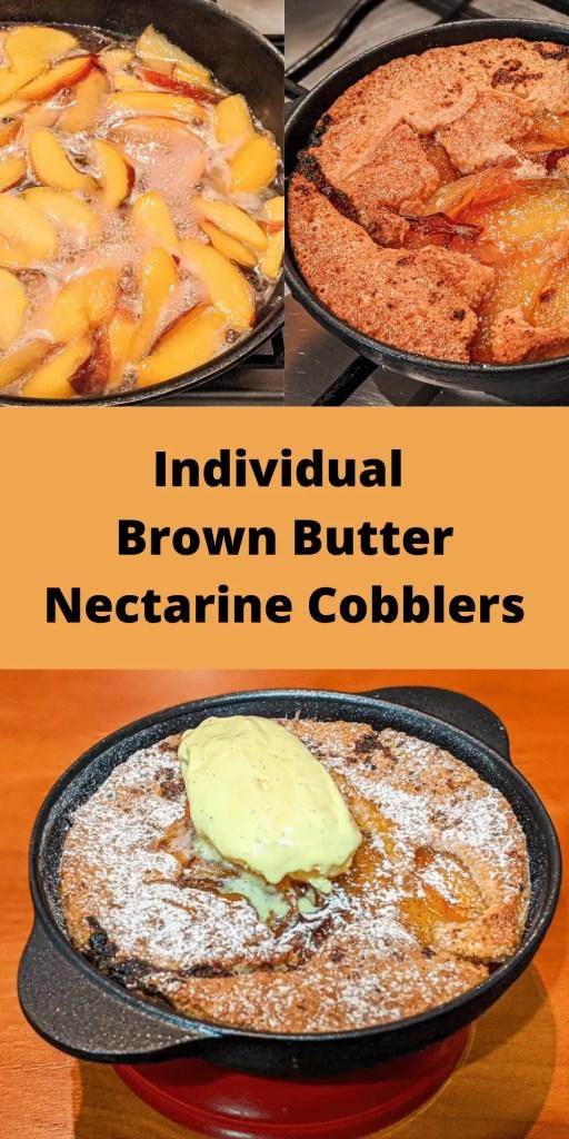 Mini Cast Iron Brown Butter Nectarine Cobbler pin