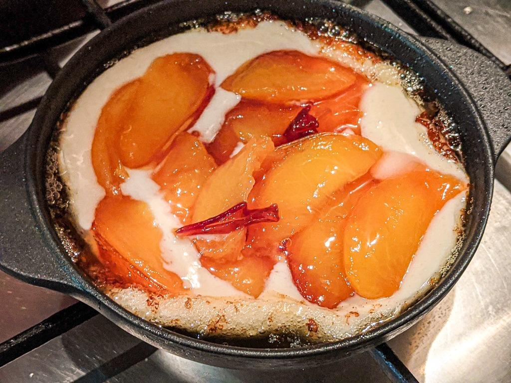 making the Mini Cast Iron Brown Butter Nectarine Cobbler