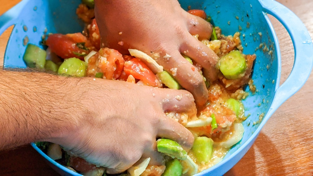 massaging the ingredients with my bare hands