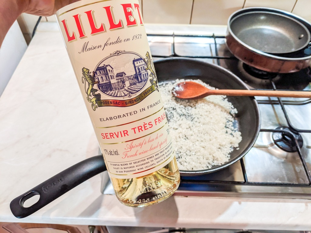 Lillet Blanc for the risotto