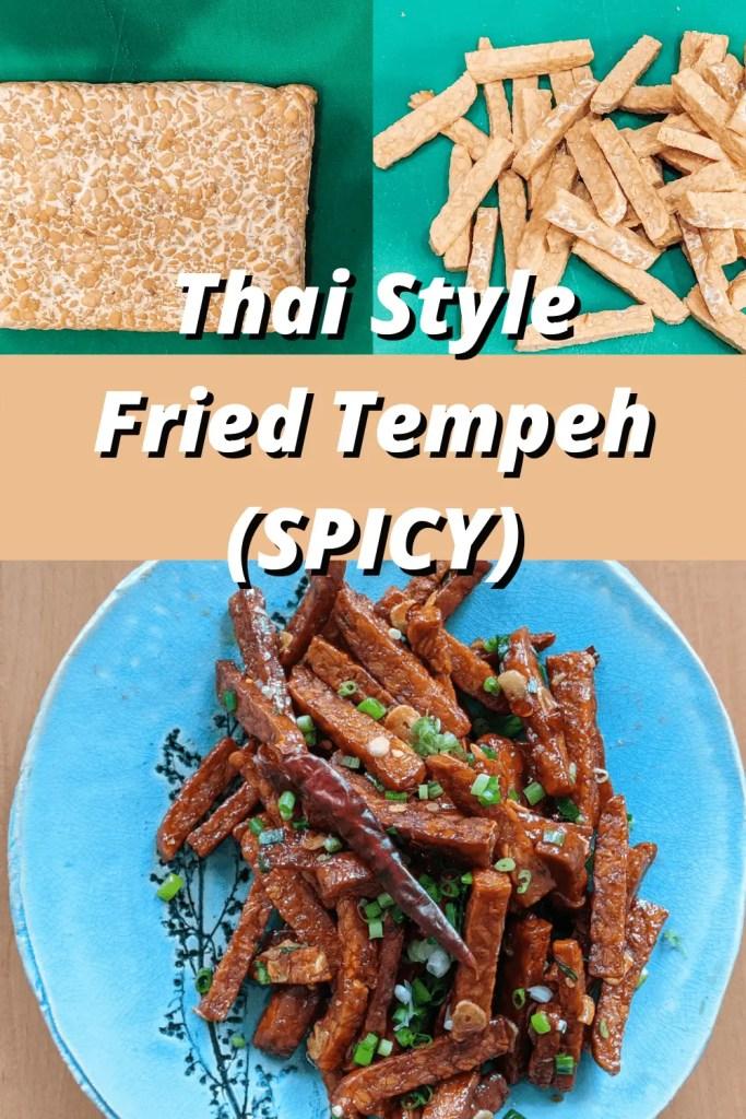 spicy thai fried tempeh pinterest pin