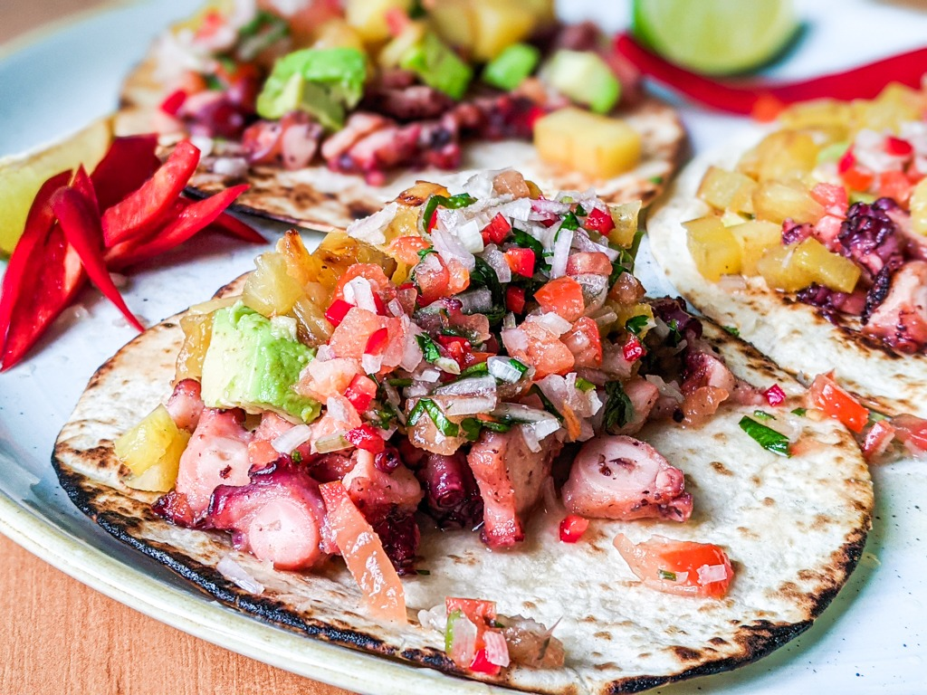 Grilled Octopus Tacos With Pineapple And Shallot Salsa