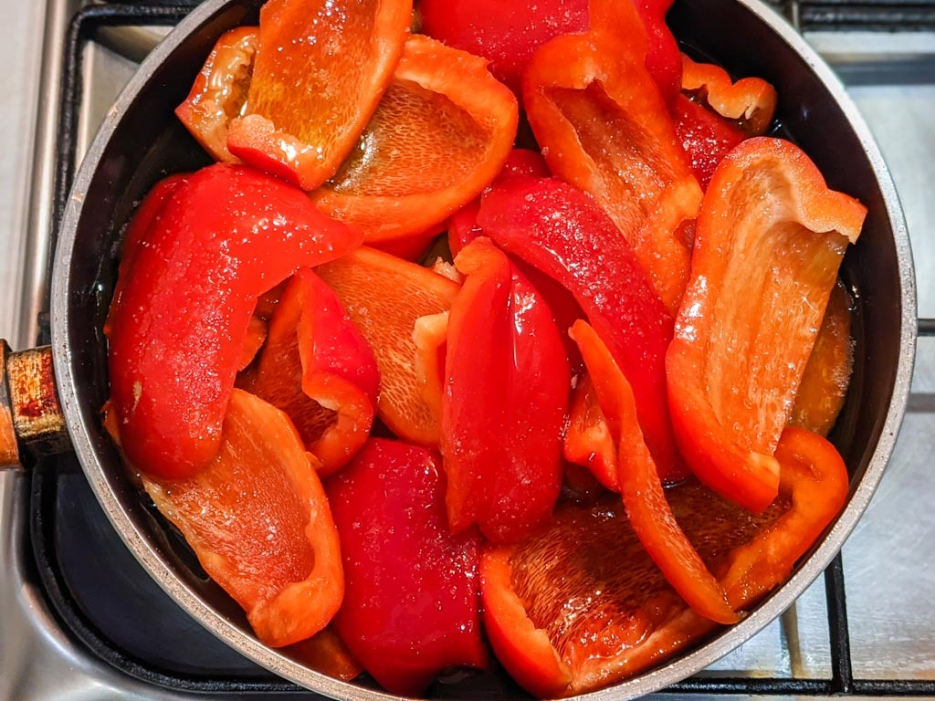 making Duck Fat Confit Bell Peppers