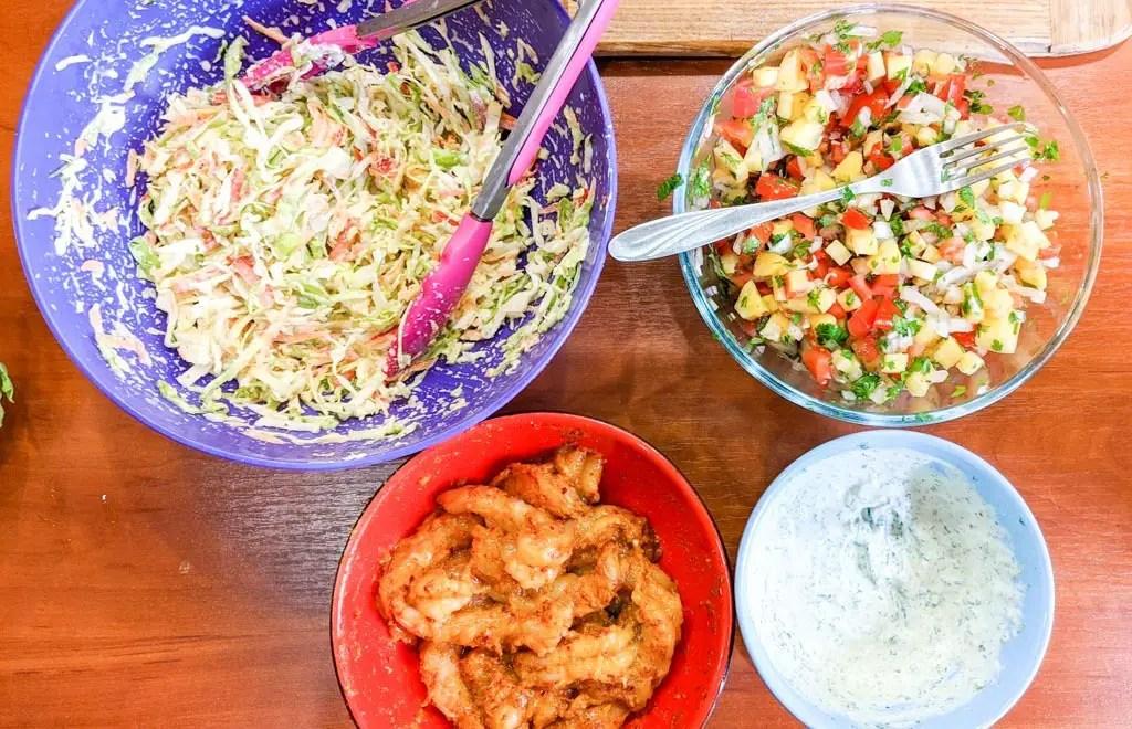 Baja California Shrimp Tacos With Pineapple Salsa ingredients