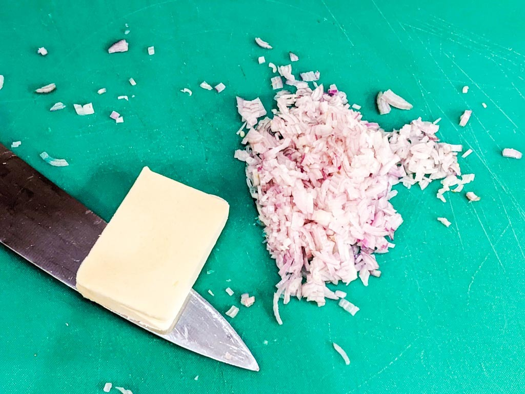 butter and finely chopped shallots