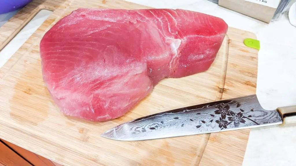yellowfin tuna on a cutting board