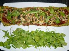 Zucchini Crust Pizza and Arugula