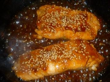 Teriyaki Salmon in the pan