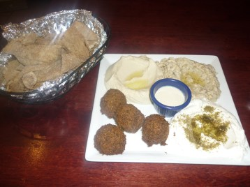 Falafels and Hummus veggie platter at Gazala's Place, Hell's Kitchen, NYC - photo by Sophie Rebibo Halimi