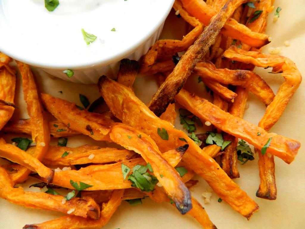 cilantro garlic sweet potato fries