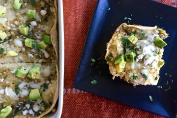 Green Chile Chicken Enchilada Bake