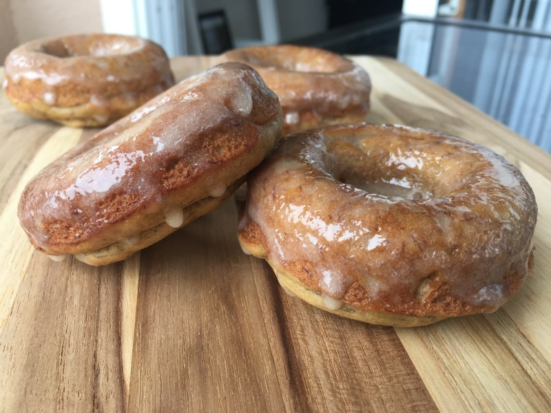 Banana Bread Donuts with Maple Glaze - Cooking Up Happiness
