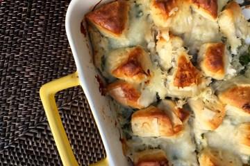 spinach and artichoke chicken bubble casserole