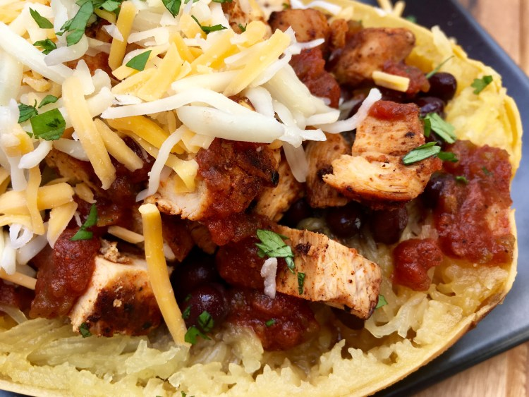 Chipotle Chicken Spaghetti Squash Burrito Bowl - Cooking Up Happiness