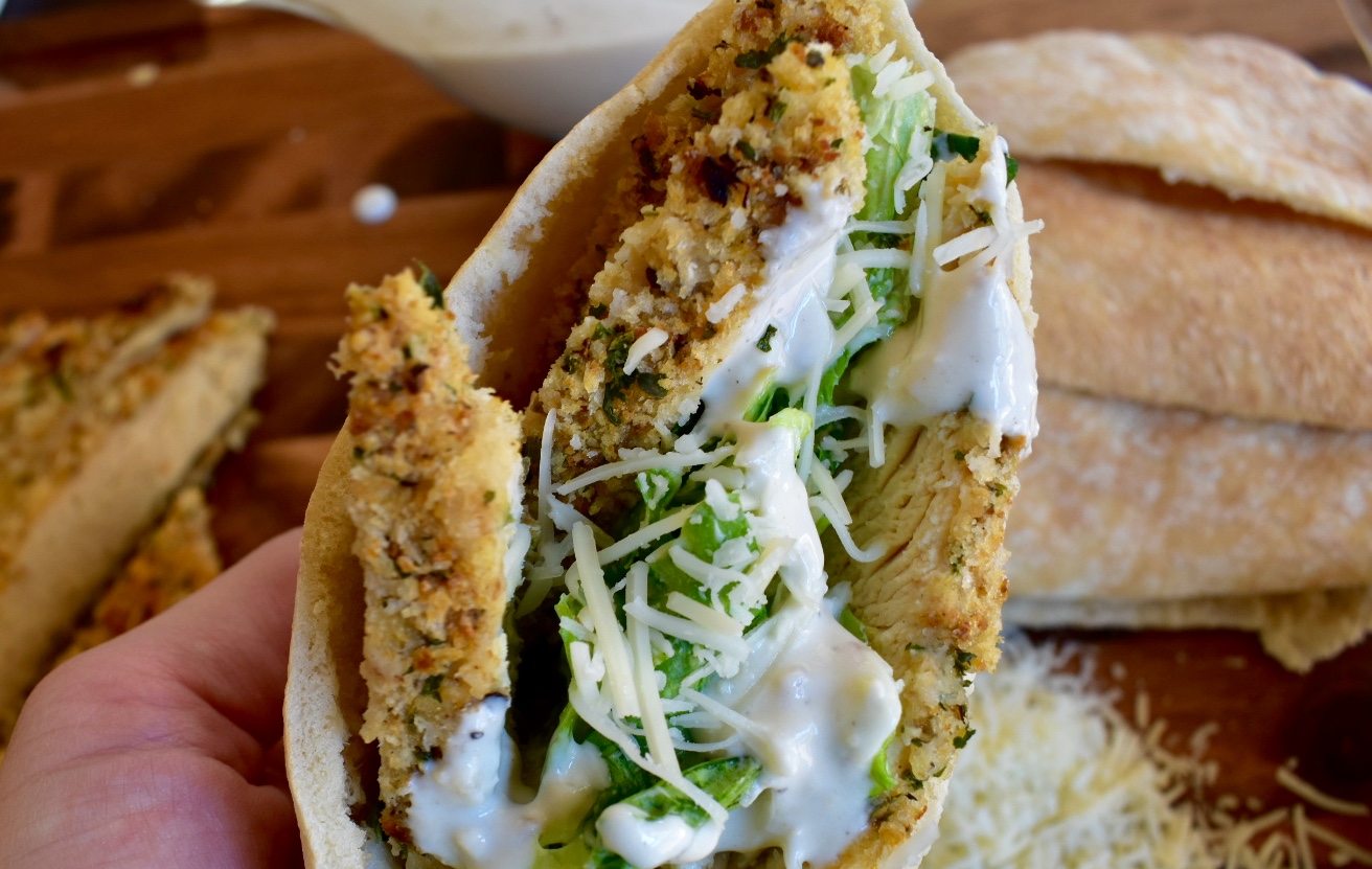 Chicken Caesar Pita - Cooking Up Happiness