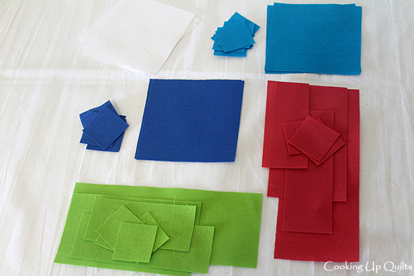 Cut Fabric for Beachball Block
