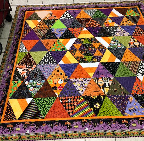 Halloween quilt with fun fabrics