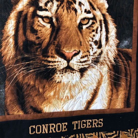 Quilting the Conroe Tiger quilt