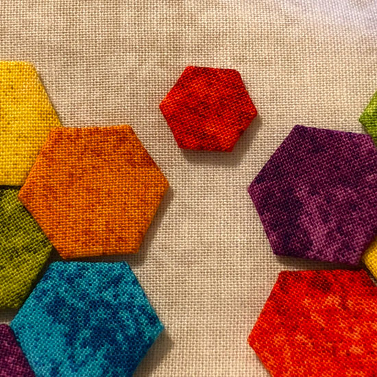 quarter inch hexies english paper pieced