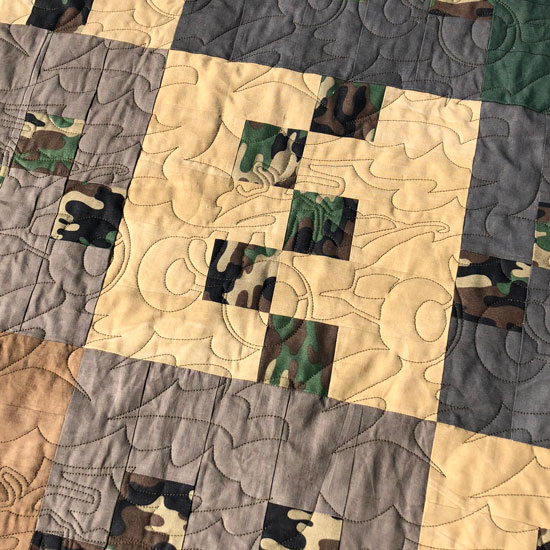Camo quilt quilting by Beth Sellers of Cooking Up Quilts