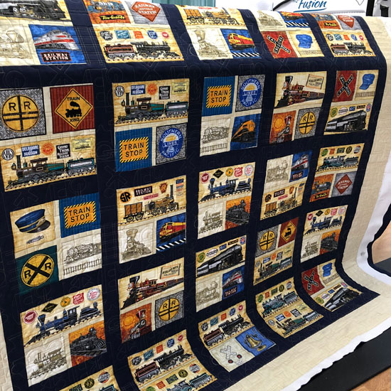 Train quilt by Lura, quilted by Beth Sellers of Cooking Up Quilts