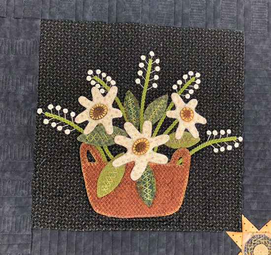 Moon Garden Wool Applique Block