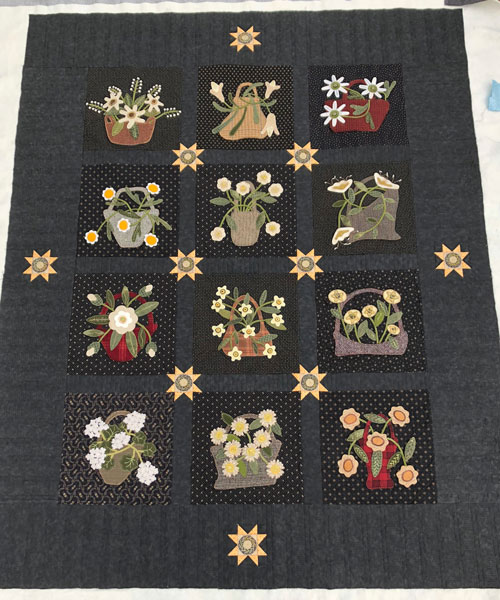 Moon Garden Wool Applique Quilt