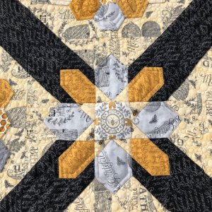 exploding stars on bee quilt