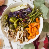 Roasted Leftover Turkey Vegetable Grain Bowl with Maple Balsamic Vinaigrette