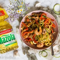 Honey Chipotle Shrimp Zucchini Noodles with Fajita Vegetables