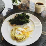 Poached Egg for Breakfast over Leftover Mashed White Sweet Potato with Mixed Greens Salad | Cooking With Bells On