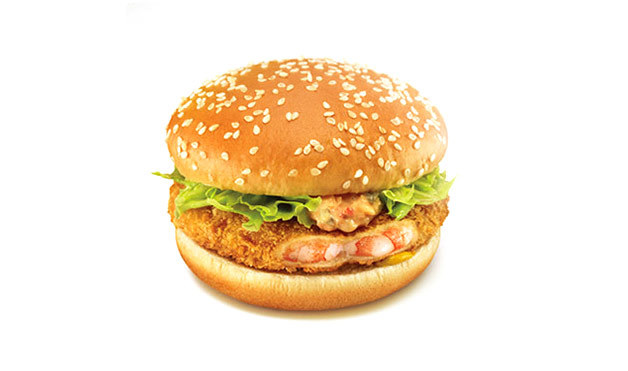 3. Japanese McDonalds feature this prawn-patty sandwich.