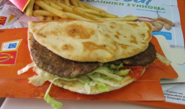 12. The Greek Mac flattens out the traditional BigMac with some pita bread in lieu of buns.