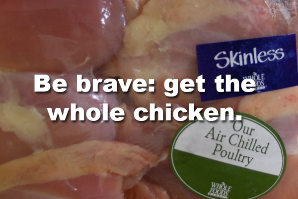 6. Boneless chicken is roughly $2/lb more expensive than those with the bones left in.