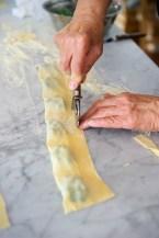 Cutting the edge of the ravioli