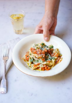 The maltagliati arrives at the table with a pumpkin and pancetta sauce