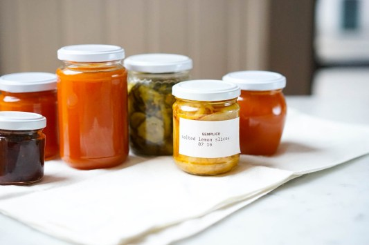 Salted lemon slices, a jar of pickled cucumbers, and a wonderfully autumnal preserve of pumpkin, apple, and candied ginger, perfect with cheese!