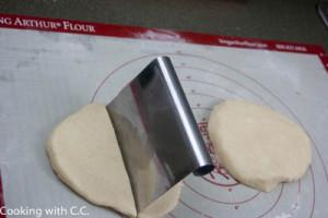 Use a bench scraper to cut the dough