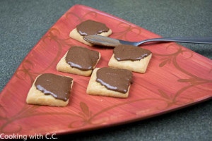 Shortbread cookies with the chocolate hazelnut spread