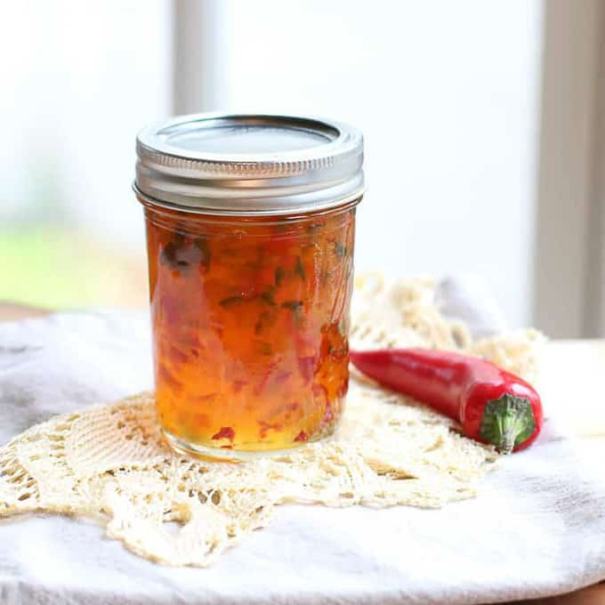 red pepper jam in jar