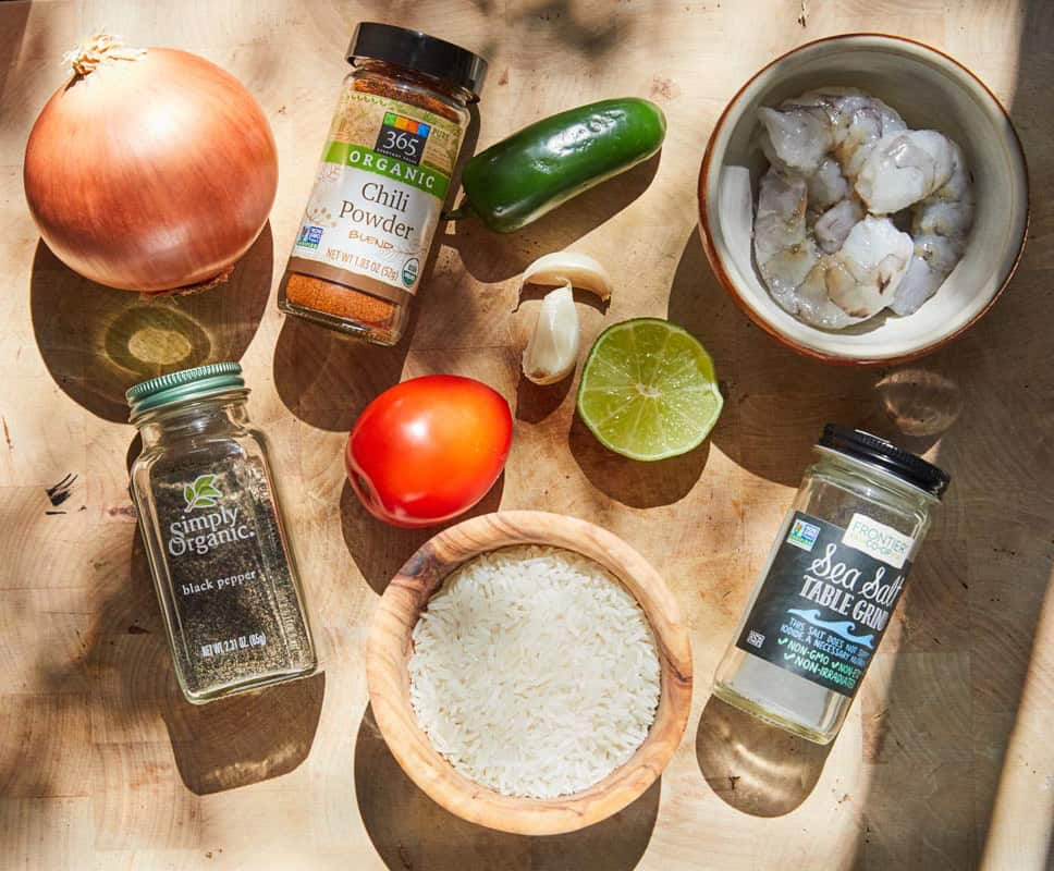Mexican Style Shrimp and Rice Ingredients