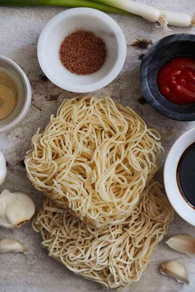 Spicy Sesame Garlic Ramen Noodles Ingredients