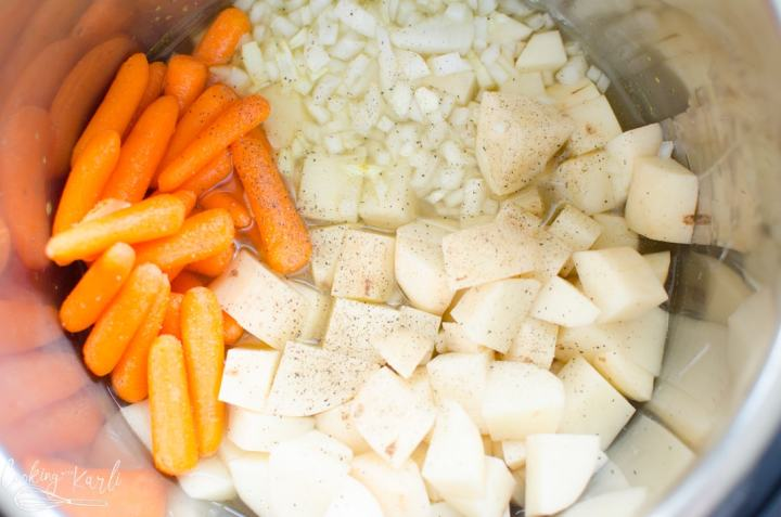 potatoes carrots, onion and chicken broth